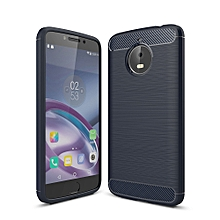 For Motorola Moto E4 Plus (EU Version) Brushed Texture Carbon Fiber Shockproof TPU Rugged Armor Protective Case(navy)