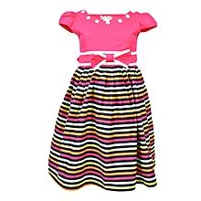 Pink Short Sleeved Striped Girls Dress