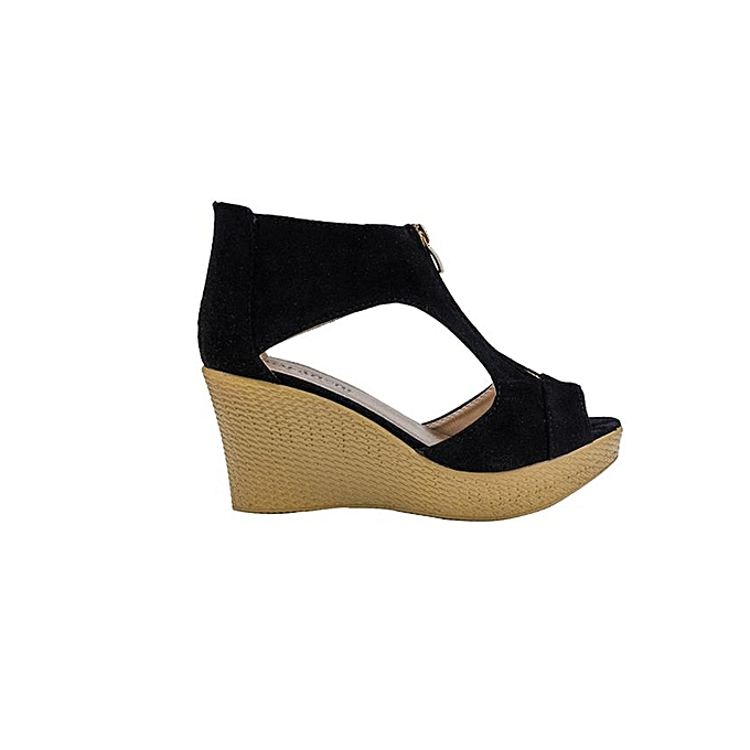 af702e0527f9 ... Women Shoes Summer Sandals Casual Peep Toe Platform Wedges Sandals Shoes -Black (EU Sizing ...