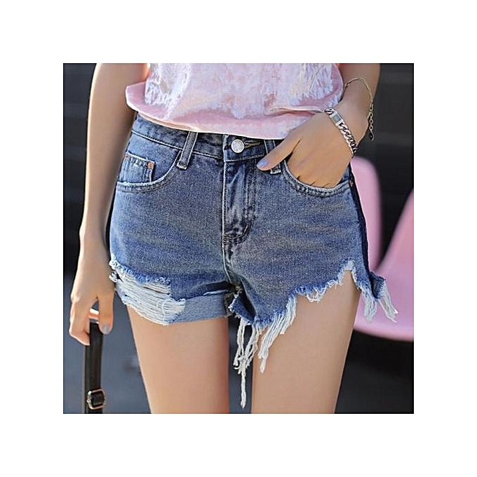 Hot Pants Women Frayed Short Jeans Burr Denim Shorts Casual Beach Slim Trouser  Ladies Short Pants 4b252411b7