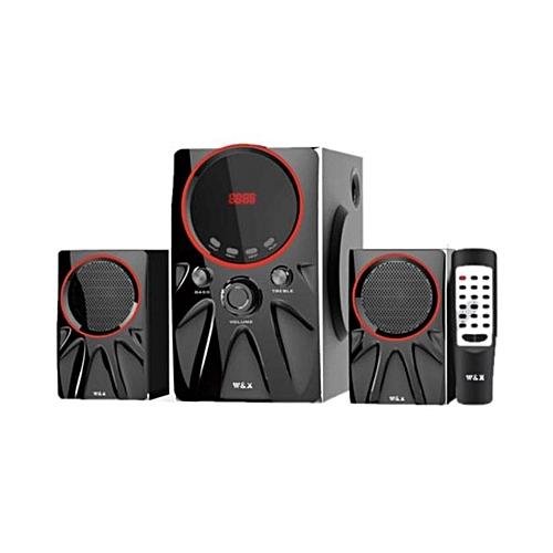 W3 - 2.1 - MULTIMEDIA SPEAKER SYSTEM POWERFUL ENERGETIC 100% WOODEN MADE SUPER WOOFER BLACK.