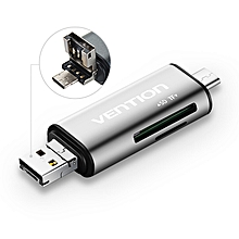 Vention CCGH0 3-in-1 Type-C USB 2.0 Micro USB SD TF Micro SD Card Reader Support OTG & Type-C Charge