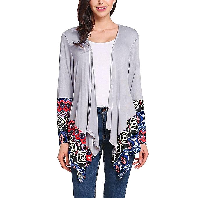 167bdccd jiuhap store Outwear Women Long Sleeve Cardigan print Loose Sweater Jacket  Sweater GY/L-