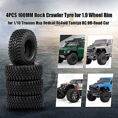 4PCS 100MM Rock Crawler Tyre for 1 9 Inch Wheel Rim1/10 Traxxas HSP Redcat  RC4WD Tamiya RC Off-Road Car