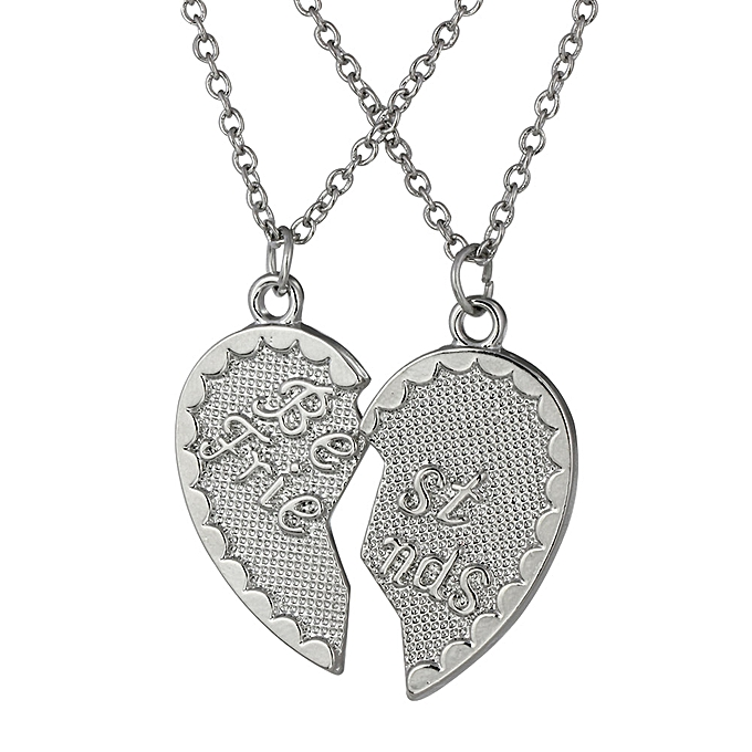 30753ccccf 2 Parts BEST FRIENDS Broken Heart Pendants Puzzle Necklaces Set Frosted  with Lobster Clasp Personalized Fine