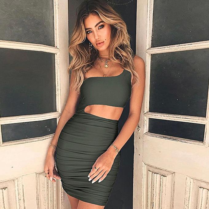c0765ee8ac40d9 New Women Dress One Shoulder Strap Asymmetrical Ruched Skinny Dress Pencil  Club Bodycon Party Dress