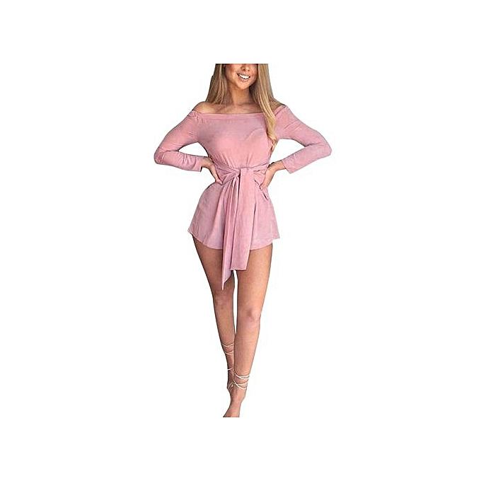 bluerdream-Womens Off Shoulder Mini Playsuit Party Evening Shorts Jumpsuit  Bodysuit PK L- 206e349a2