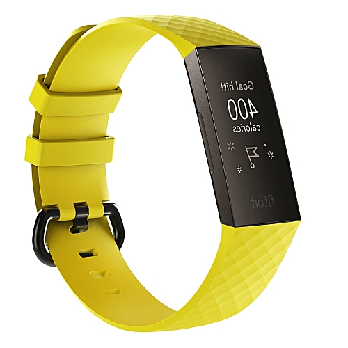 Diamond Pattern Silicone Wrist Strap Watch Band for Fitbit Charge 3 (Yellow)