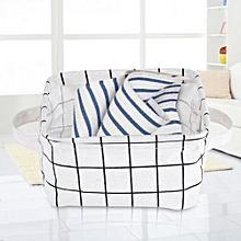 Foldable Fabric Convenient Storage Laundry Box Basket Keep Table Tidy Decor White Lattice