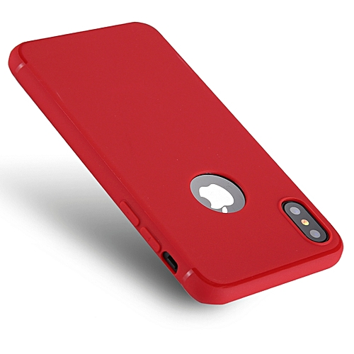 new arrival 7f129 85b66 For iPhone X Pure Color TPU Protective Back Cover Case (Red)