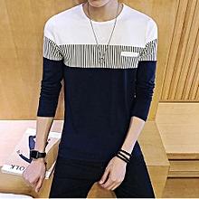 New Men's Long Sleeved T-shirt Striped Shirt-darkblue