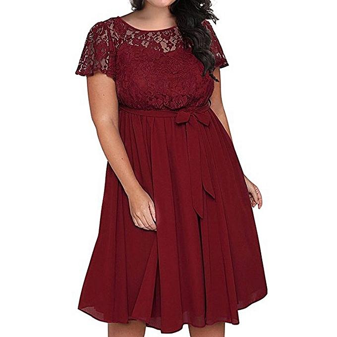 b30dd80913d jiuhap store Women Scooped Neckline Floral Lace Top Plus Size Cocktail  Party Dress RD L-