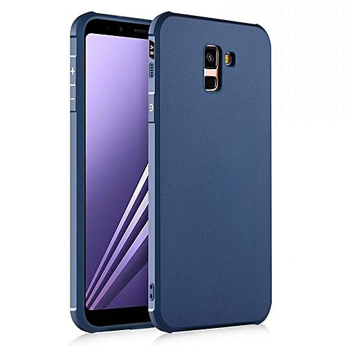 huge selection of 29ecc 8eb40 Samsung Galaxy A8 Plus 2018 Silicon Case Matte TPU Anti-knock Phone Cover -  Blue