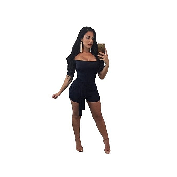 2298ccc78810 Refined Women s Jumpsuit Skin-tight Off Shoulder Sexy Jumpsuit-black