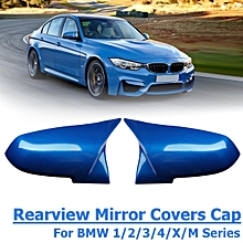 Pair Blue ABS Rearview Mirror Cover Cap For BMW 1/2/3/4/X/M Series F20 F21 F22