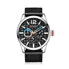 Men leather strap round Quartz watch