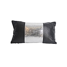 Synthetic Leather with Silver Band Pillow - Small - Black & Silver