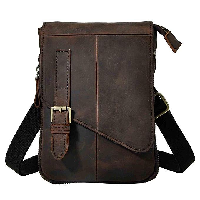 ae6709848ab Fashion Real Leather Male Casual Multifunction messenger bag Satchel 8 Pad  Cross-body Shoulder bag Waist Belt Bag For Men 611-6d(dark brown)