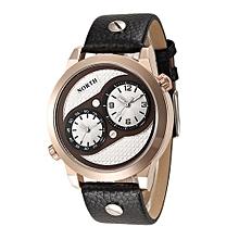Olivaren North Double Movements Quartz Wrist Watch Leather Sports Mens Watch COCoffee