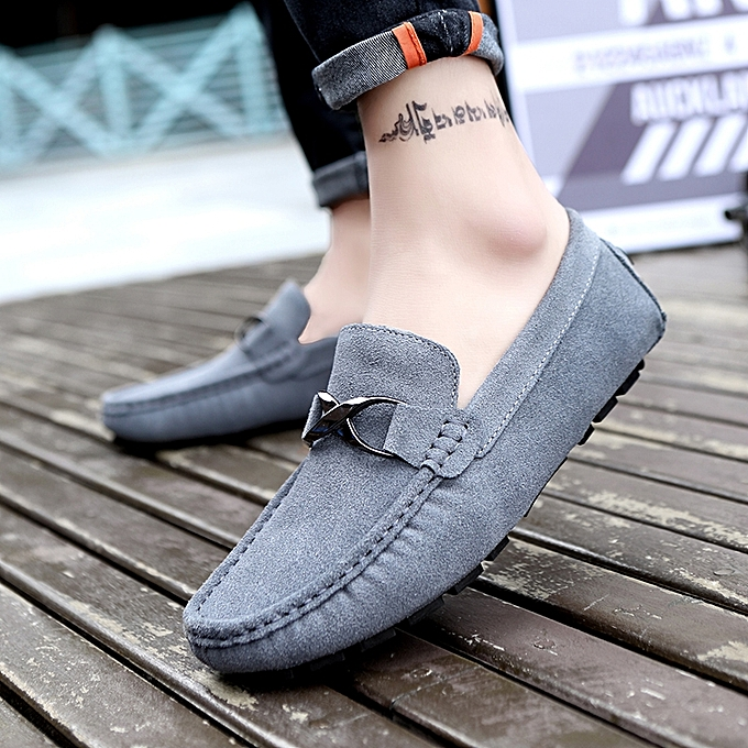 b1f2913e609 Mens Slip On Loafers Suede Driving Penny Loafer Moccasins Dress Flats Boat  Shoes Grey ...