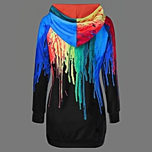 Women Oil Paint Over Print Rainbow Hoodie - Black