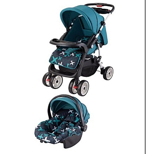 Superior 3 in 1 Value Pack baby stroller set- Blue printed