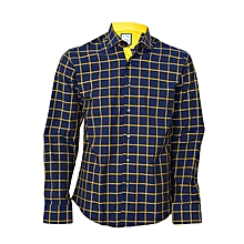 Navy Blue Checked Shirt With A Yellow Pocket Square