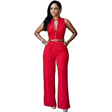 New Summer Europe and America Fashion Women Jumpsuits Office Lady Single-breasted High Elasticity Straight Rompers-red