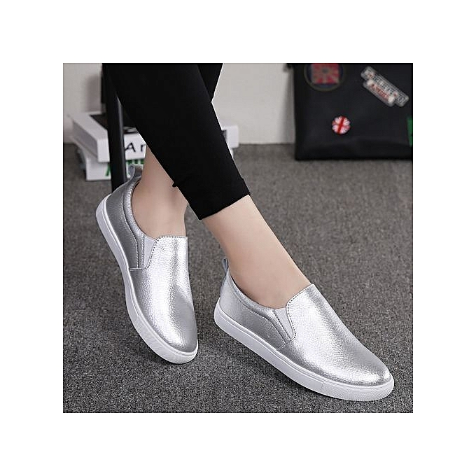 2924921dea4 Fashion Women s Genuine Leather Penny Loafers Driving Moccasins Slip-On  Boat Flats Shoes-Silver