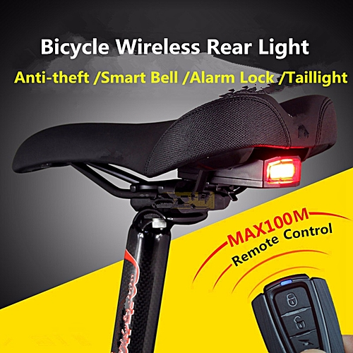 Generic 3 in 1 Bicycle Wireless Rear Light Cycling Remote Control Alarm Lock Fixed Position Mountain Bike Smart Bell COB Tailight USB Charging @ Best Price ...