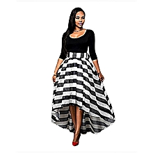 Plus big size Dresses Striped O-Neck Half Sleeve Two Piece Suit Asymmetrical Party Dress - black - S