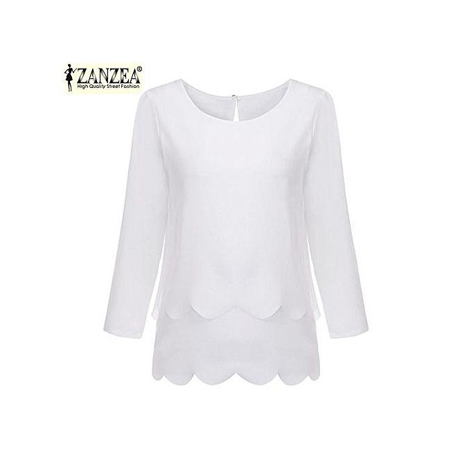 3a576e06c8b ZANZEA Women Elegant Blouses Design Ladies O Neck 3 4 Sleeve Back Waves Cut  Split Blusas Casual Tops Shirts Plus Size (White )