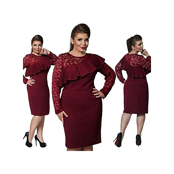 6da8d331aa0 Beauty Large Size Ladies Dress Big Size Casual Lace Office Dress Straight Dresses  Plus Size Women ...