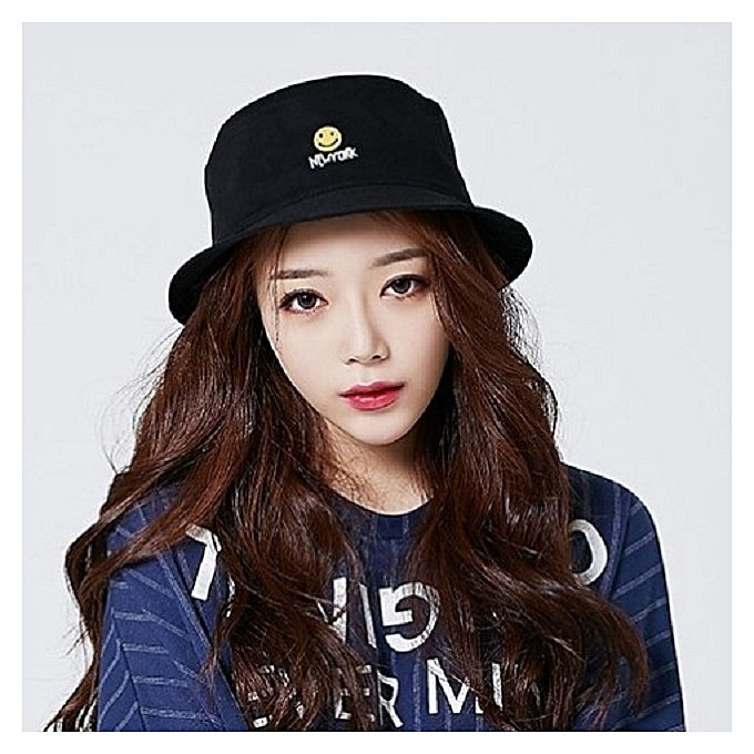 1NewYork black smiling face2018 new style of fisherman hat female hat the  female hide a female ed42cb97122