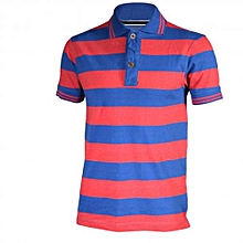 Red and Blue Striped Mens Pure Cotton Polo T-Shirts - Freestyle Streetwear