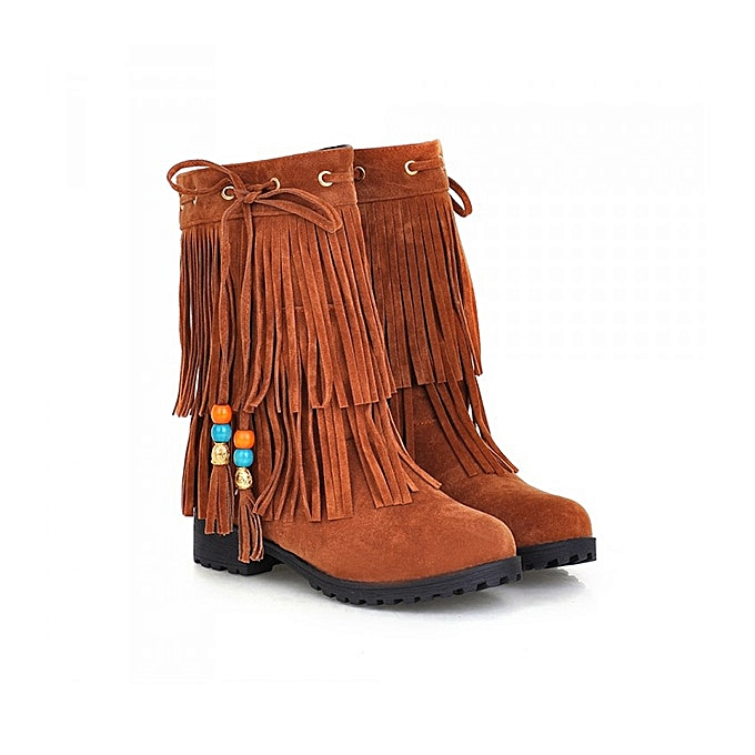 c30e59c29325 Fashion Big Size Women Flat Ankle Boots Ladies Tassels Ankle Short Boots  Slip On Boots