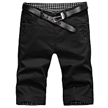 Men Summer Cotton Breathable Solid Color Knee Length Thin Casual Cargo Shorts