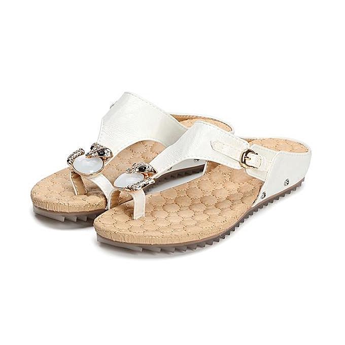 2a1f67a865e90 Fashion Women Rhinestones Buckle Comfortable Clip Toe Flip Flops Flat  Sandals-EU