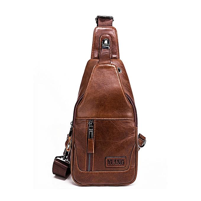 Men Genuine Leather Vintage Crossbody Bag Chest Bag Casual Business Travel  Weekend Bag 354c024da50ea