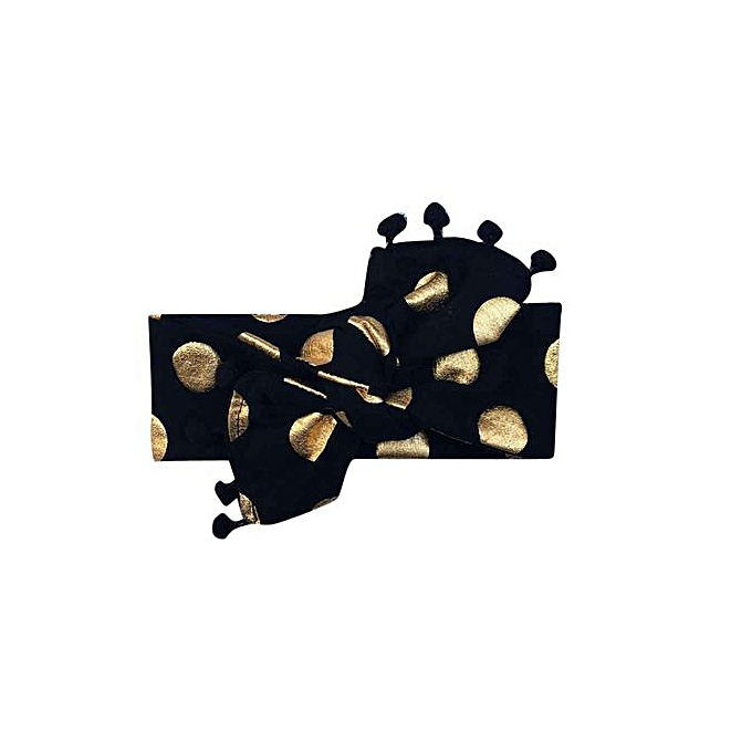 cfef658290b ... Braveayong Kids Girls Baby Headband Toddler Bowknot Gold Dot Hair Band  Accessories Headwear -Black