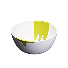 Hands on salad bowl - Green & white