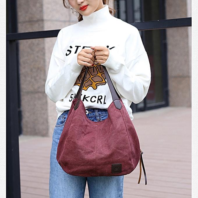 Fashion Women Vintage Canvas Handbags Shoulder Bags Large Capacity  Multi-Pockets Casual Ladies Totes 6cfb5ea931