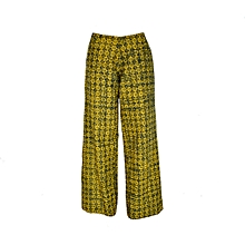 Yellow Printed Wide Leg Trousers