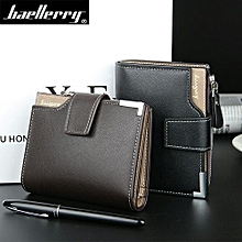 Wallet Men Leather Men Wallets Purse Short Male Clutch Leather Wallet Mens Money Bag -Black