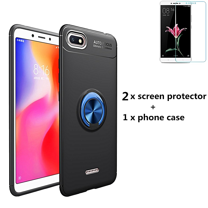 2pcs Tempered Glass Film Screen protector + 1pcs Metal ring Armor Style Back phone Case cover