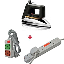 SR-1172 - Iron box Dry With FREE Small cable And Red Lable 4-way Socket Extension Cable - Silver