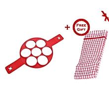 Non Stick Flippin' Fantastic Nonstick Pancake Maker Egg Ring Maker Kitchen Tool + FREE Gift Kitchen Towel.