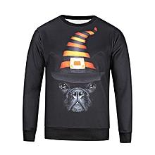 bluerdream-Men's Autumn Winter Printed Dog Long Sleeve Sweatshirt Tops Blouse L- Black