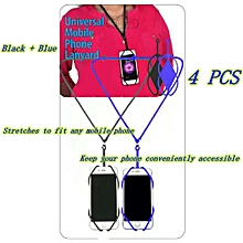 Universal Mobile Phone Lanyard 4 PCS - Black + Blue