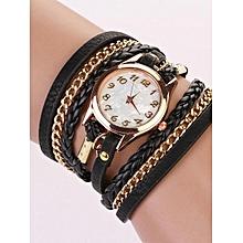 Hot Fashion Women Retro Synthetic Leather Strap Watch Bracelet Wristwatch-Brown